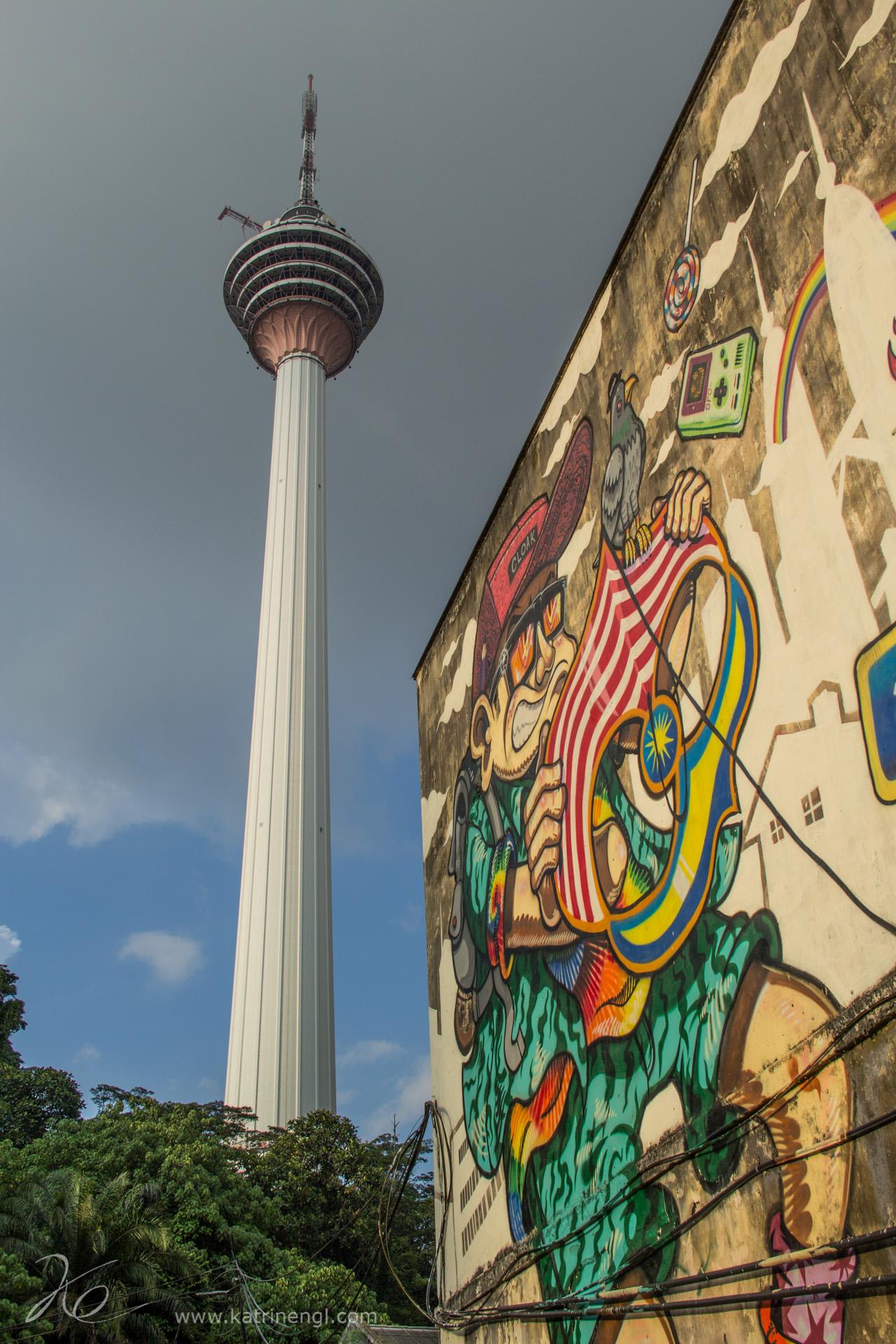 Kuala Lumpur KL Tower Graffiti wall