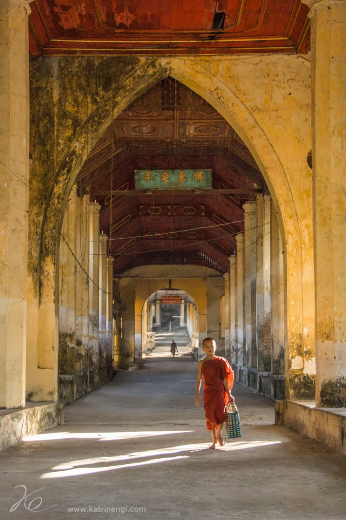 Little monk on our way to the pagoda