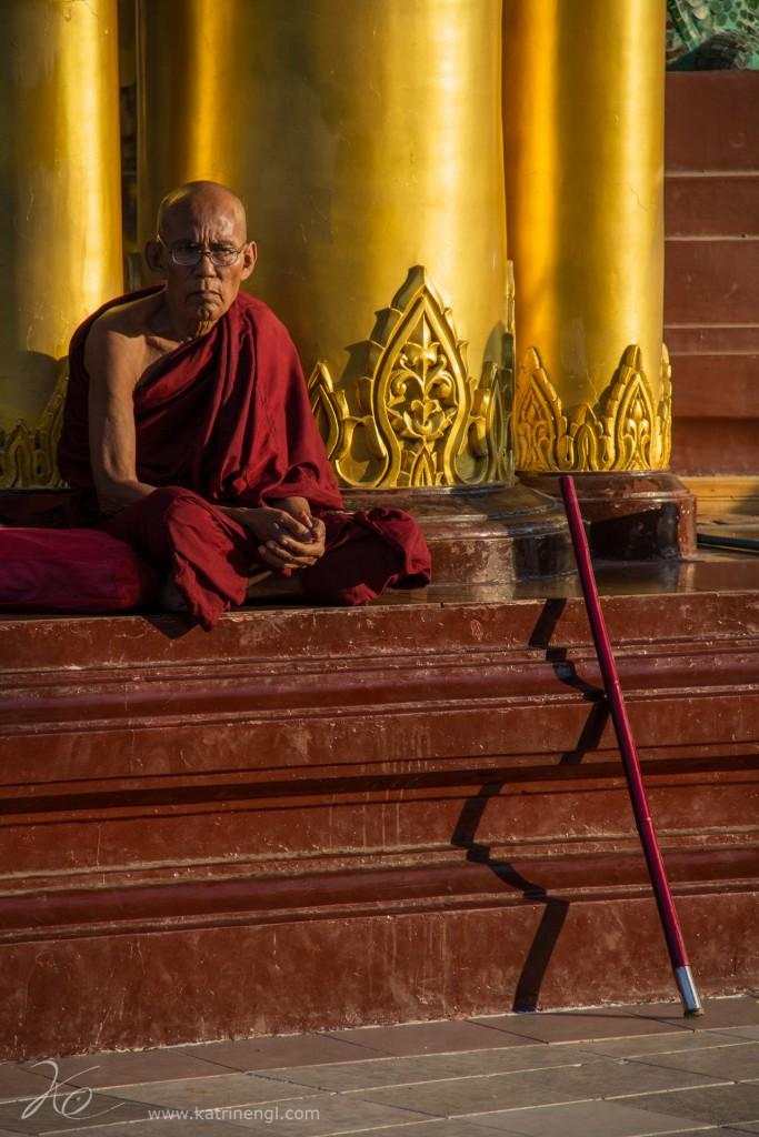 Monk Shwedagon Pagoda Yangon Myanmar