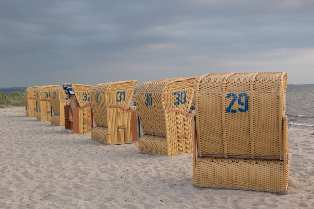Beach chairs on the island of Poel