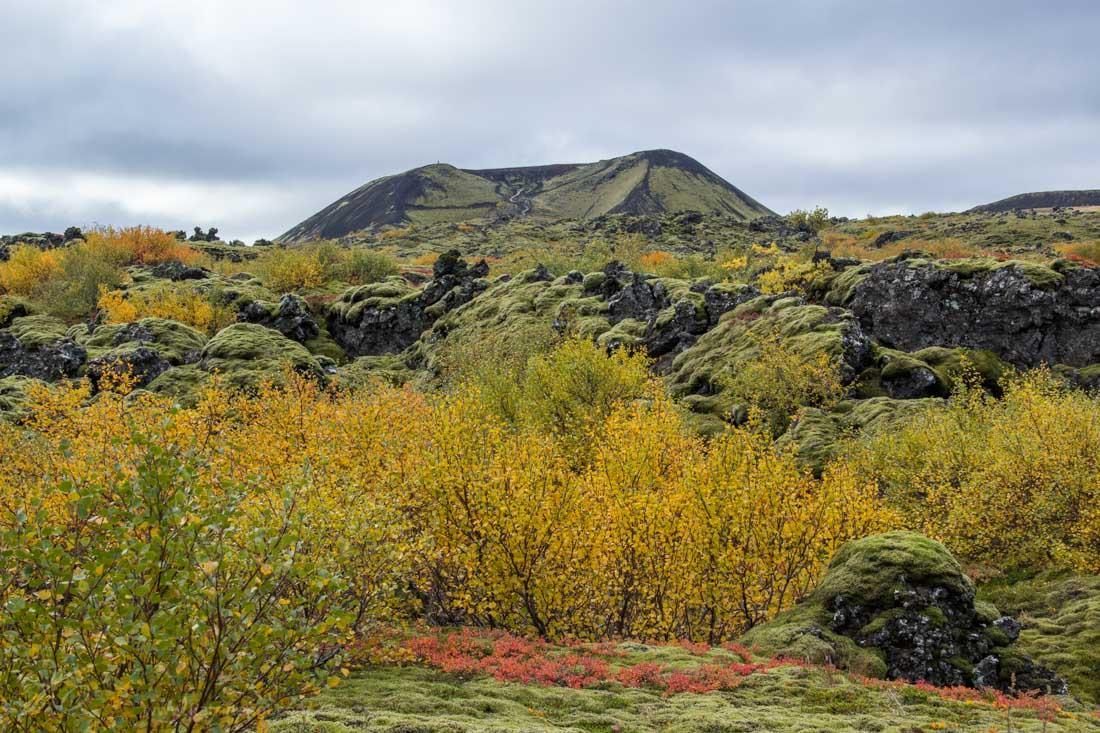 Grabrok crater Iceland in autumn