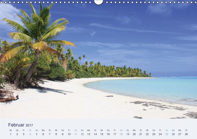 Februar Kalender weißer Sandstrand