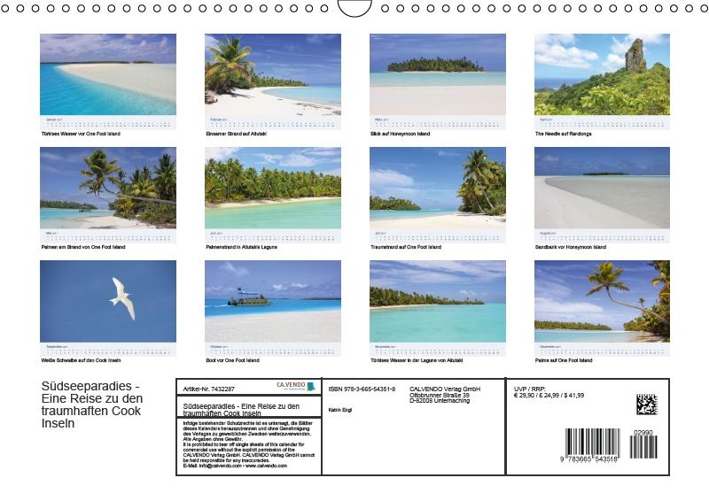 Cook Islands Kalender Monatsübersicht